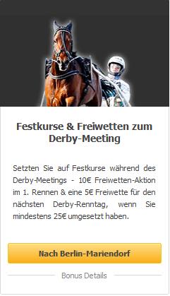 Gratiswetten zum deutschen Traber Derby 2020 beim Wettanbieter Racebets