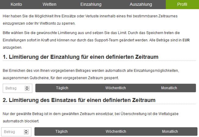 Limitierung Pferdewetten.de