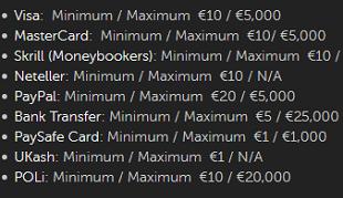Racebets Limits für Einzahlungen